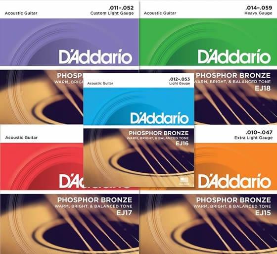 cuerdas de guitarra acustica d'addario